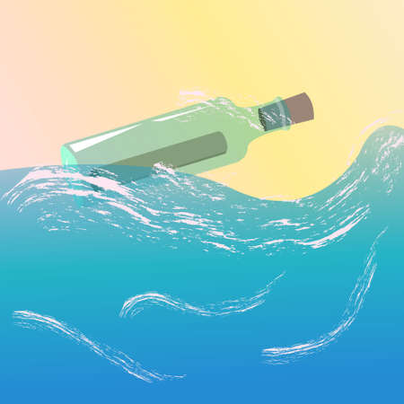 A glass bottle floating in the ocean with a message inside. Vector illustration.