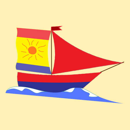 Vector summer sea landscape. Ship with scarlet sails, calm sea and pink sunrise, romantic picture . vector illustration