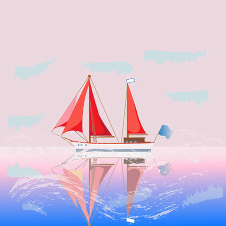 Vector summer sea landscape. Ship with scarlet sails, calm sea and pink sunrise, romantic picture . vector illustration of nature. Çizim