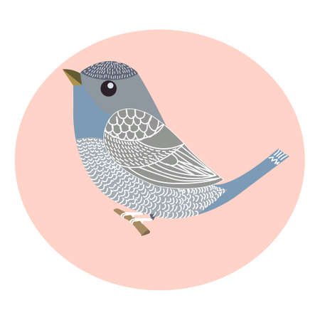Doodle, picture of flying decorative bird, vector illustration
