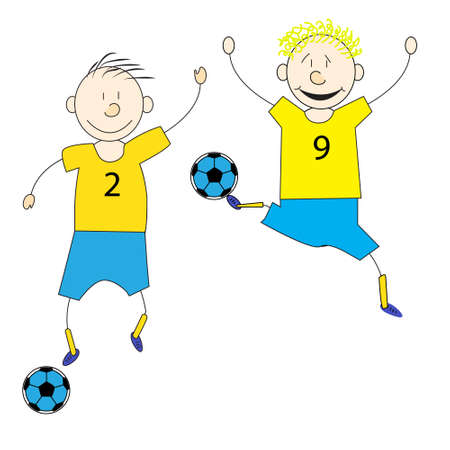 Doodle-drawn characters, the players with the ball in motion, vector illustration
