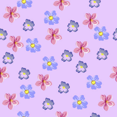Seamless vector background with cute floral pattern. Design for cloth, wallpaper, gift wrapping. Print for silk, calico and other projects. Illustration