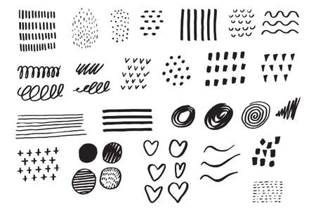 Hand drawn set elements. Business doodle. Hand drawn sketch. Signs isolated on white background. Vector illustration.