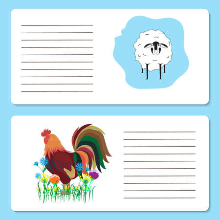 Baby cards with cute cock and sheep animals, greeting cards or Invitation cards, vector illustration