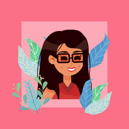 Portrait of nice smiling dark-haired woman. Illustration in flat style, minimalism, vector