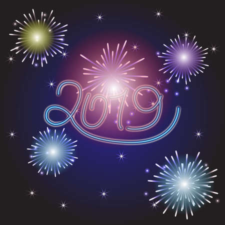 Happy New Year illustration with Fireworks Blue Background. Vector Holiday Design for Premium Greeting Card, Party Invitation.