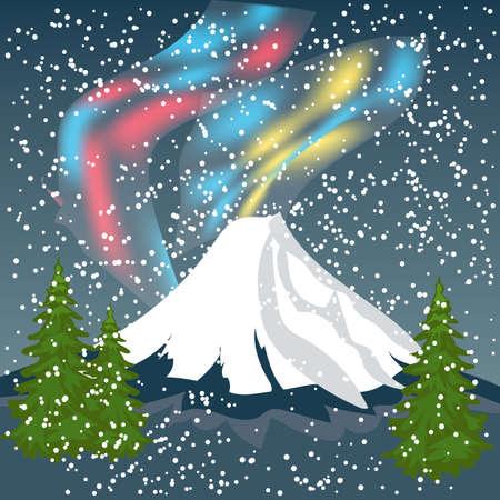 Night Sky, Aurora Borealis, Northern Lights Effect, Realistic Colored polar lights. Vector Illustration, abstract space design for aurora borealis Illustration