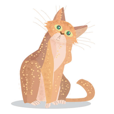 Cute cartoon cat sit. Flat character design. Home pet. Vector illustration isolated on white background. Illustration