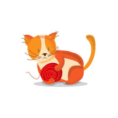 Cute cheerful Kitten playing, cartoon vector illustration.