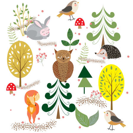 Autumn forest, trees and bushes, mushrooms and berries with cute animals and birds, vector illustration