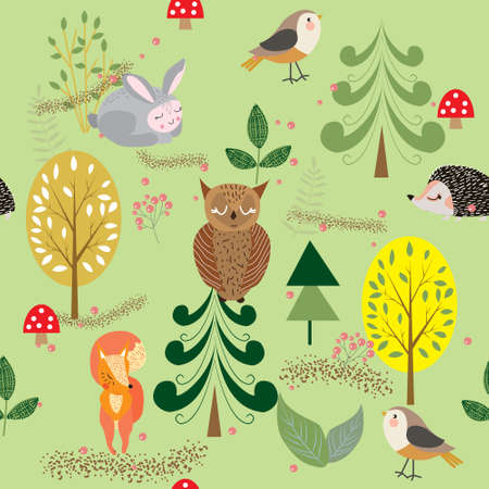 Autumn forest, trees and bushes, mushrooms and berries with cute animals and birds, seamless pattern vector illustration