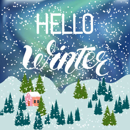 Hello Winter inscription Greeting card background with fir trees, house , falling snowflakes, realistic snowfall and decorative elements. Christmas decoration. Victorian Winter card, Vector Иллюстрация