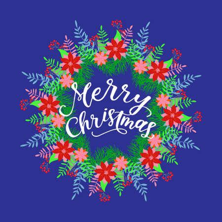 Merry Christmas calligraphy greeting card. Handwritten modern brush lettering. Hand drawn design elements. Vector illustration Illustration