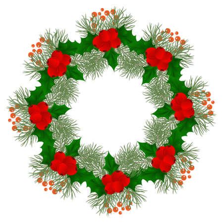 Christmas wreath with fir tree Wreath with berries and flowers, poinsettia and decorative elements. Design element for Christmas decoration. Vector illustration