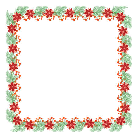 Frame of Holly leaves and berries and fir branches, vector illustration