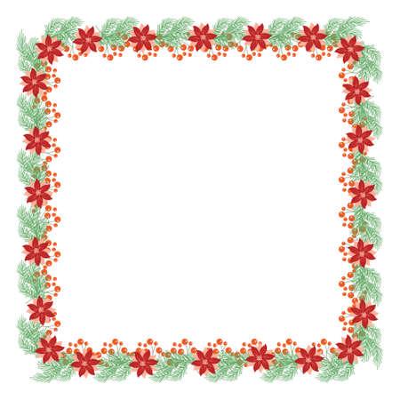 Frame van Hulstbladeren en bessen en dennentakken, vectorillustratie