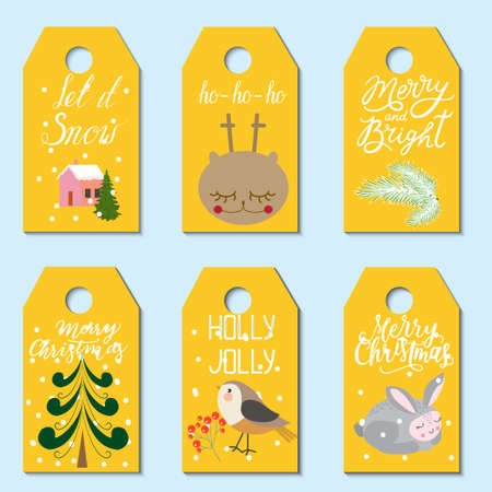 Christmas gift tags set. Creative hand-drawn texture for winter holidays with new year lettering. Vector illustration.