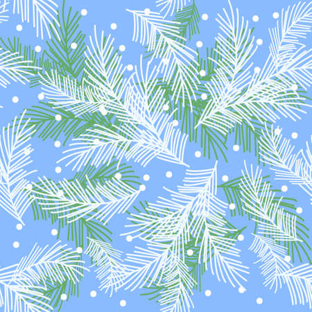 Seamless pattern with fir branches.Christmas and New Year background. Vector illustration.