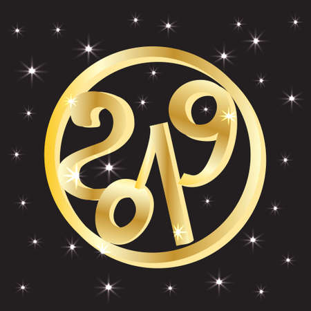 Gold ring with number 2019 on a bright background with stars. New years eve. Vector illustration. Illustration