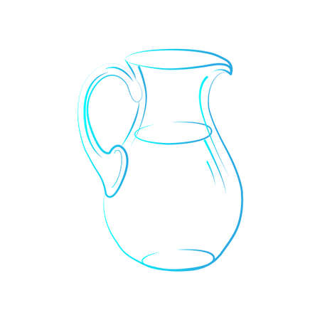 Jug linear sketch hand drawn illustration isolated on white background - vector illustration