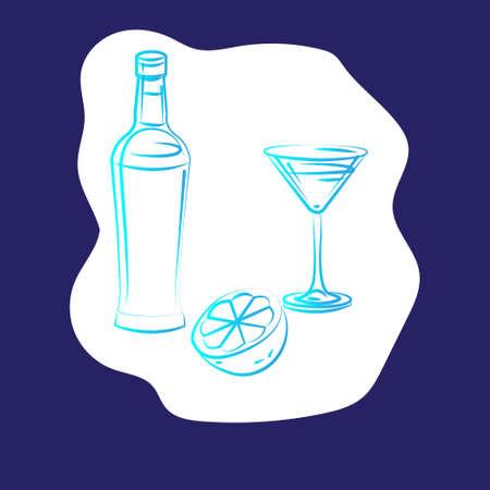 wine bottle, glass, lemon-cocktail set linear sketch hand drawn illustration isolated on white background-vector illustration Illustration