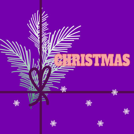 Christmas and new year design with beautiful plant branches, paper card with good wishes on a bright background Illustration
