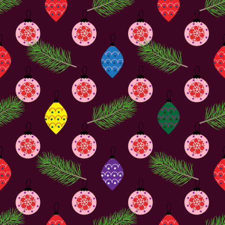 Christmas and new year illustrations with gifts and toys, seamless pattern on Christmas theme Illustration