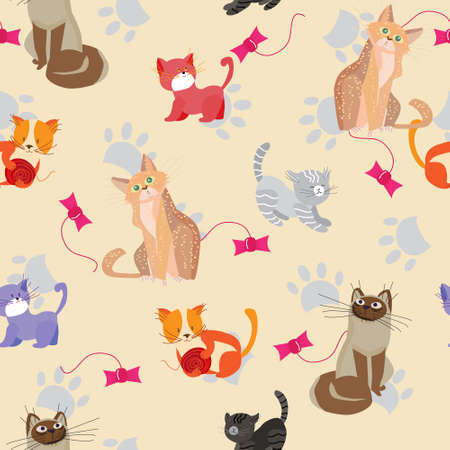 Cute cats and kittens, seamless pattern with Pets playful and beloved animals, vector illustration