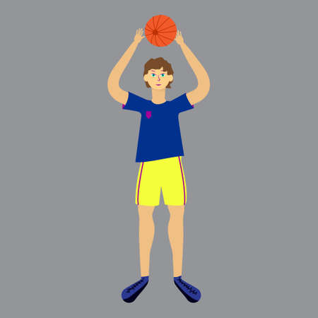 Isolated volleyball player on white background. Man in uniform with ball. Vector illustration 일러스트