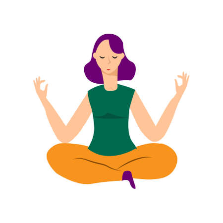 Young woman sitting in yoga lotus pose. Meditating girl illustration. Yoga woman, meditation, anti-stress people. - Illustration