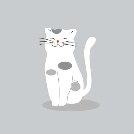 Cartoon cute funny cat, isolated on pastel background, vector illustration