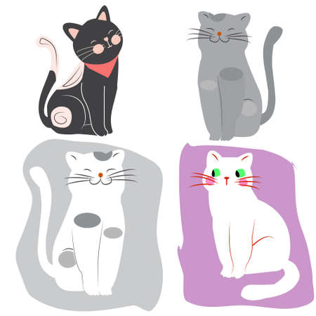 Cartoon 4 cute funny cats isolated on delicate pastel background, vector illustration