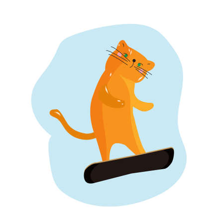 Wonderful ginger cat likes to snowboard, the cat, the athlete snowboarder winter poster. Vector illustration.