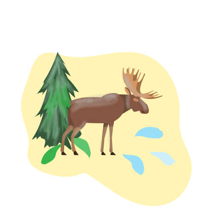 North handsome moose in a meadow, vector illustration  イラスト・ベクター素材