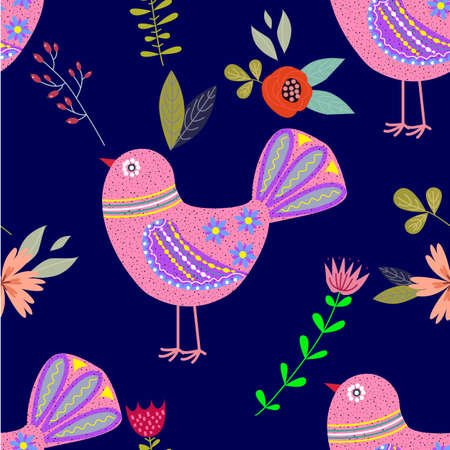 Art colorful illustration with beautiful abstract folk bird and flowers. Artwork for decoration your interior and for use in your unique design,seamless pattern, vector illustration
