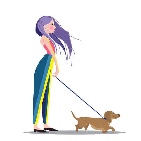 Girl walking with her dog, cartoon vector illustration Zdjęcie Seryjne - 122819579