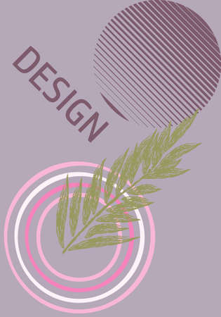 Universal trend poster juxtaposed with bright bold geometric leaves foliage yellow elements composition. Background in restrained sustained tempered style. Magazine, leaflet, billboard, sale. Vector illustration. Textures are made with their brushes in the Illustrator