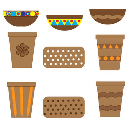 Flower pots for flowers and other plants, ceramic and plastic, geometric. Vector illustration.