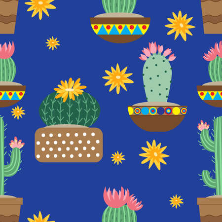 Cactus flowers in ceramic pots with ornaments. Bright cacti, aloe leaves, exotic cacti plants juicy summer desert tropical flora cartoon, seamless background, Botanical vector collection