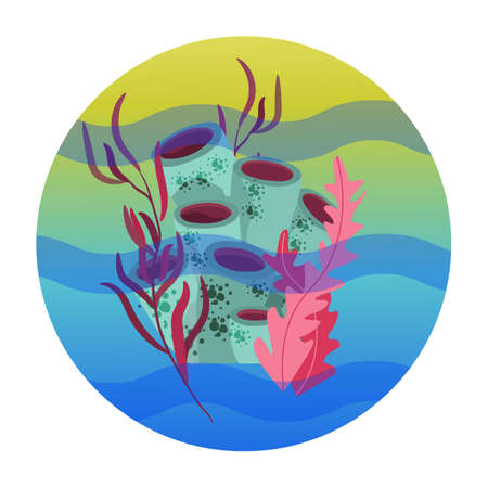 Beautiful hand drawn botanical vector illustration with tropical corals. Isolated on blue background.