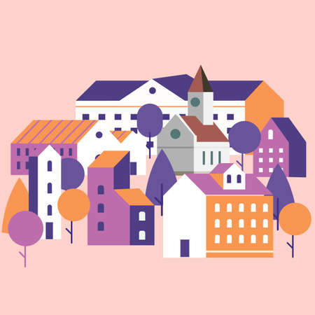 Minimal cityscape. Flat town houses with eco nature environment, modern geometric buildings. Cityscape background, vector illustration