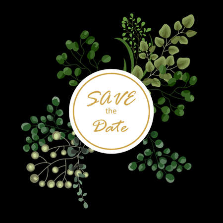 Vector card floral design with green watercolor fern leaves tropical forest greenery herbs decorative frame, border. Elegant beauty cute greeting, wedding invite, postcard template. Save thr date lettering Illustration