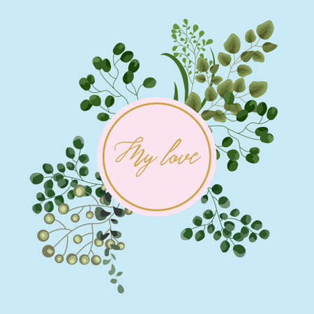 Vector card floral design with green watercolor fern leaves tropical forest greenery herbs decorative frame, border. Elegant beauty cute greeting, wedding invite, postcard template. My love lettering