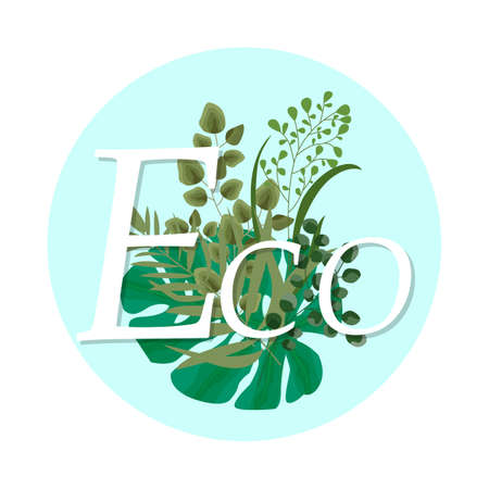 Ecology Logo. Design of a natural eco-friendly product of the company. Flat vector illustration