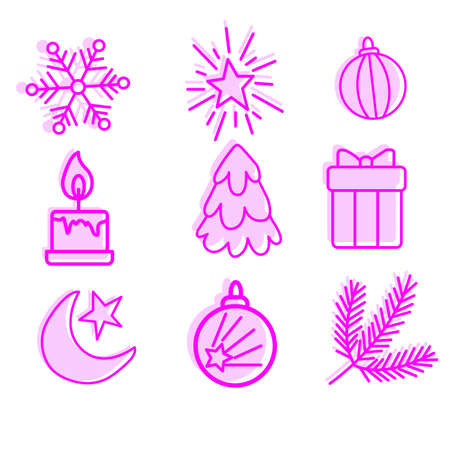 Selection of new year and Christmas symbols, linear symbols for posters, banners and postcards, vector.