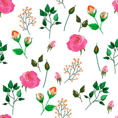 Seamless pattern of roses, leaves and buds on white background. For wedding decor, postcards and textiles, vector illustration Illustration