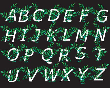 Decorative alphabet decorated with green branches for the design of postcards, banners, cards and logos. Vector illustration