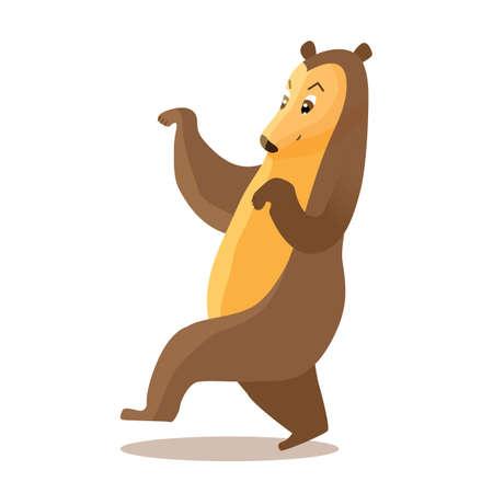 L'orso simpatico cartone animato va dolcemente in silenzio, illustrazione vettoriale del personaggio
