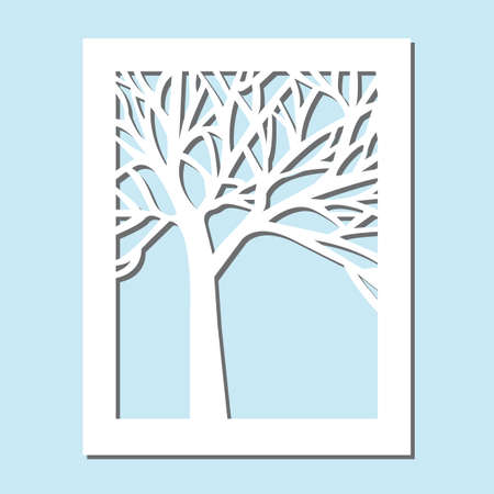 Template for laser cutting and Plotter. Flowers, leaves for decoration. Vector illustration, plotter and screen printing, serigraphy.