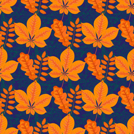 Autumn leaves, bright trace of outgoing summer, seamless pattern, vector illustration Illustration